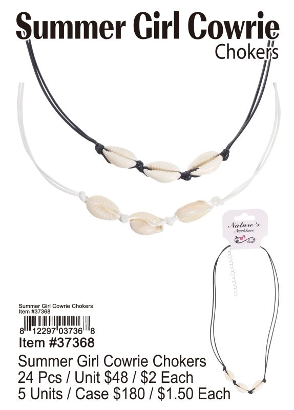 Summer Girl Cowrie Chokers - 24 Pieces Unit