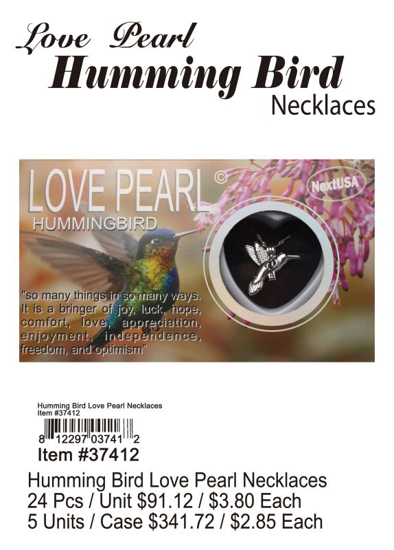 Love Pearl Humming Bird Necklace - 24 Pieces Unit