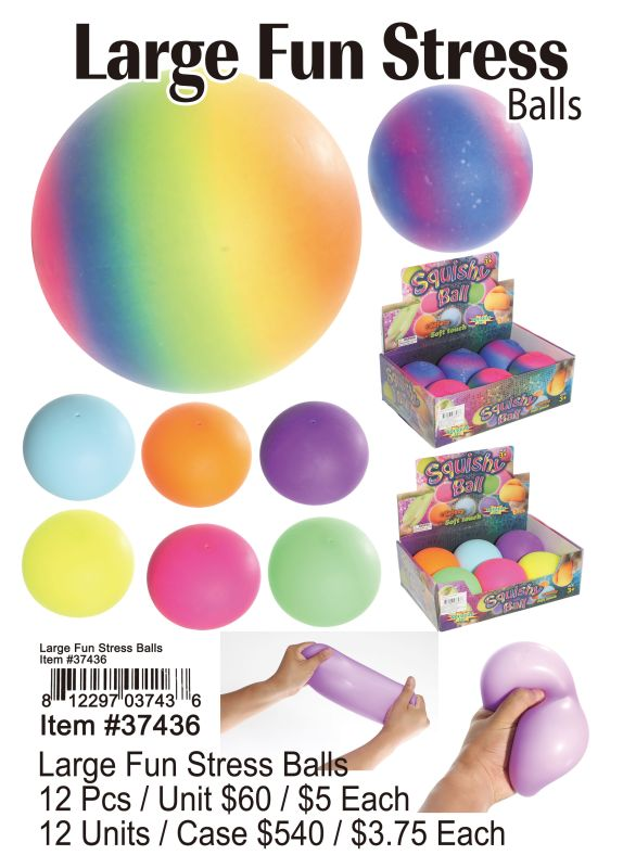 Large Fun Stress Balls - 12 Pieces Unit