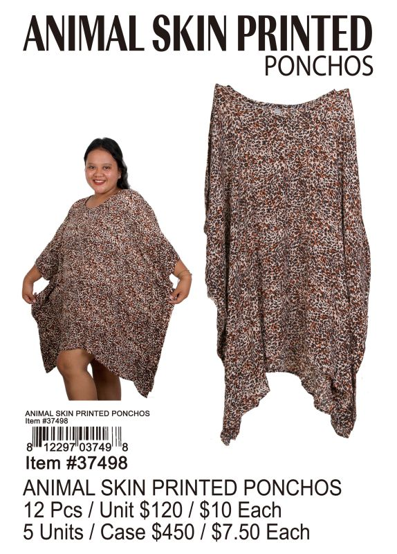 Animal Skin Printed Ponchos - 12 Pieces Unit