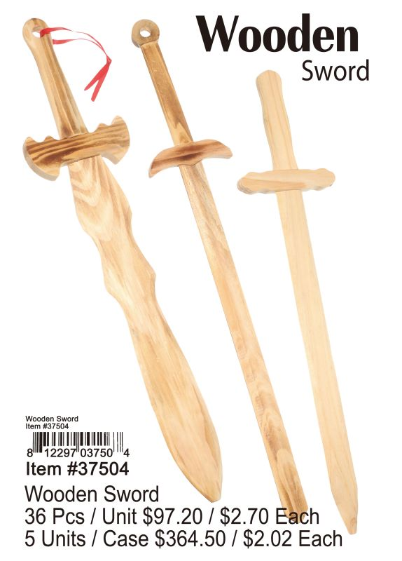 Wooden Sword - 36 Pieces Unit