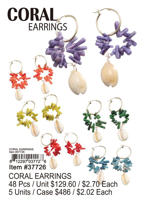 Coral Earrings - 48 Pieces Unit