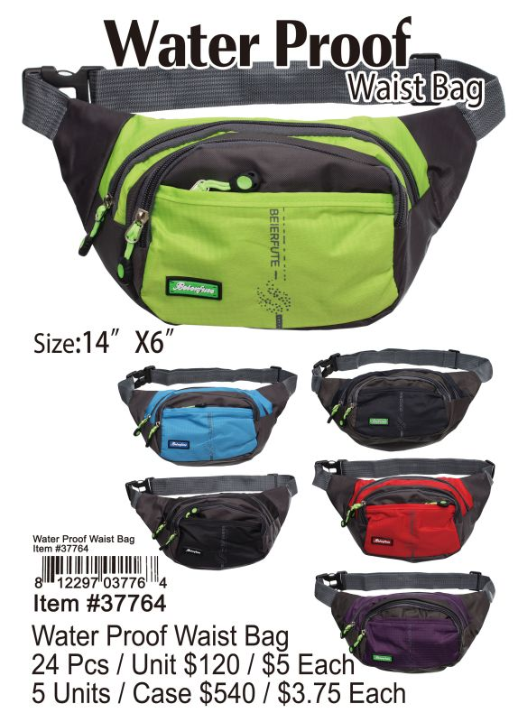 Water Proof Waist Bag - 24 Pieces Unit