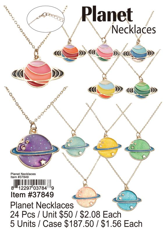 Planet Necklaces - 24 Pieces Unit