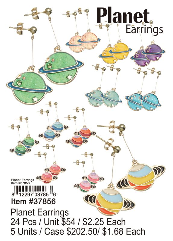 Planet Earrings - 24 Pieces Unit