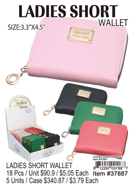 Ladies Short Wallet - 18 Pieces Unit