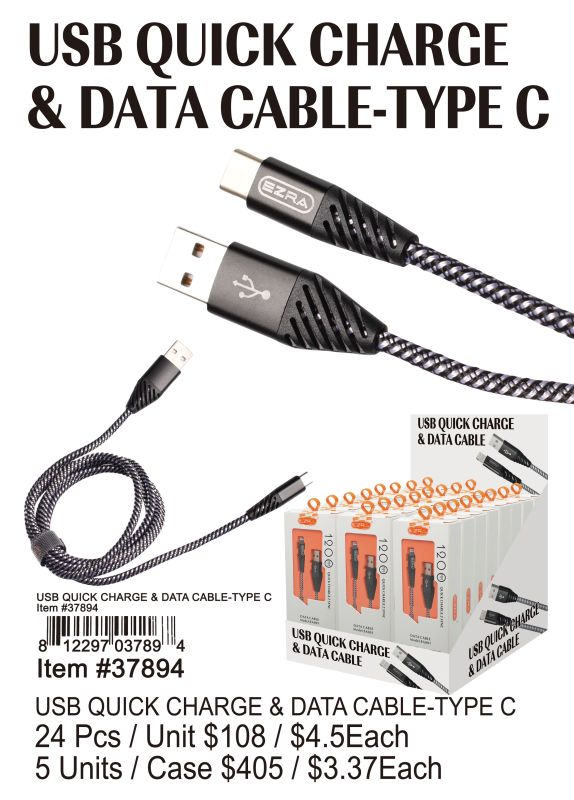 Usb Quick Charge&Data Cable Type-C - 24 Pieces Unit