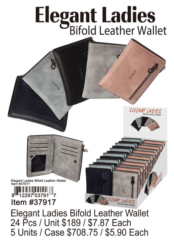 Elegant Ladies Bifold Leather Wallet - 24 Pieces Unit