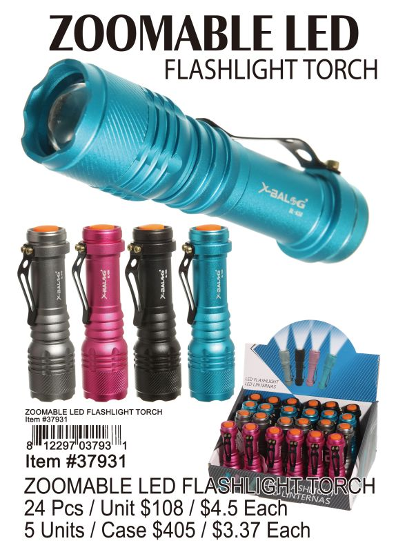 Zoomable Led Flashlight Torch - 24 Pieces Unit