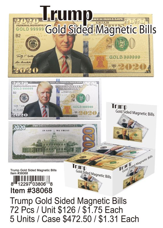 Trump Gold Sided Magnetic Bills - 72 Pieces Unit