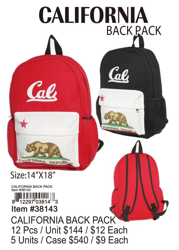 California Back Pack - 12 Pieces Unit