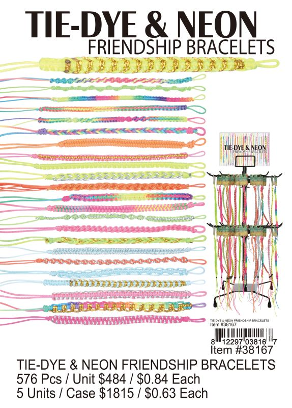 Tie-Dye & Neon Friendship Bracelets - 576 Pieces Unit