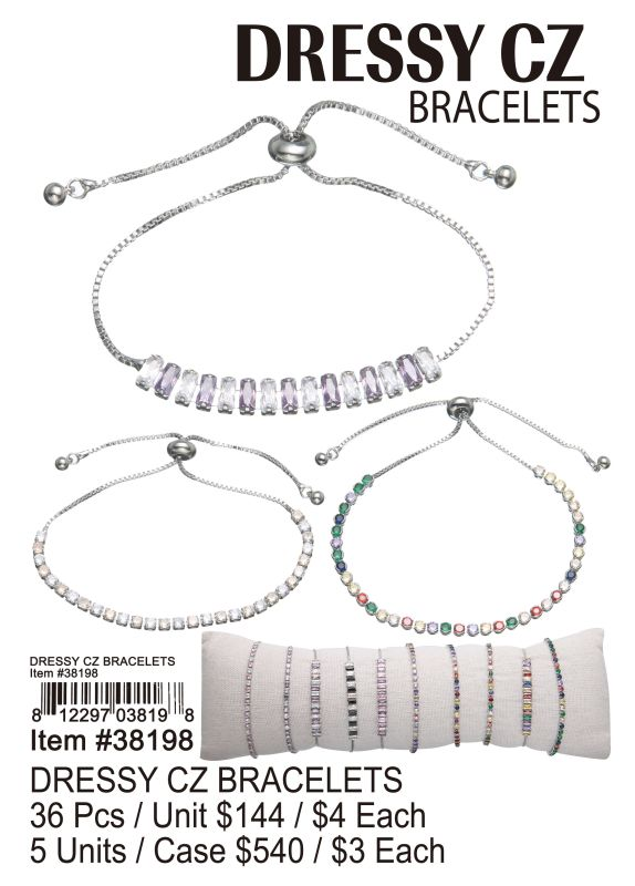 Dressy Cz Bracelets - 36 Pieces Unit