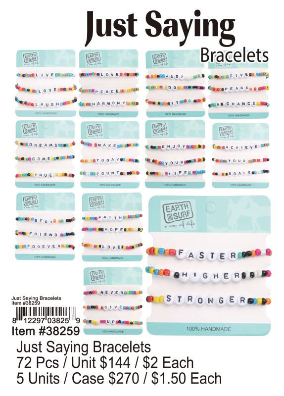 Just Saying Bracelets - 72 Pieces Unit