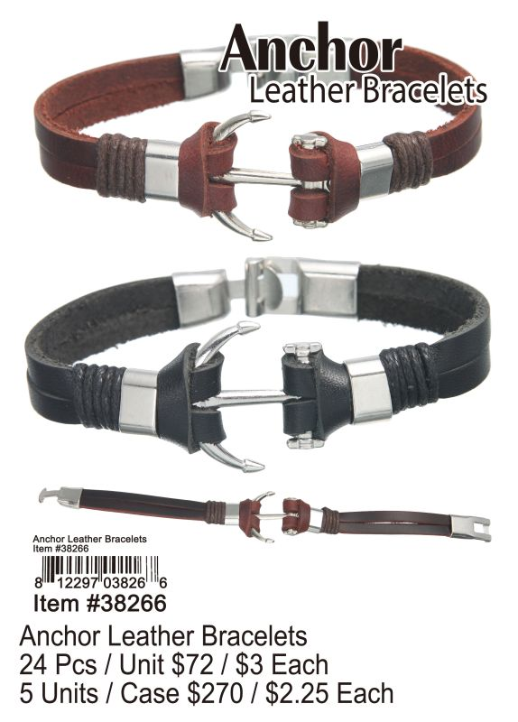 Anchor Leather Bracelets - 24 Pieces Unit