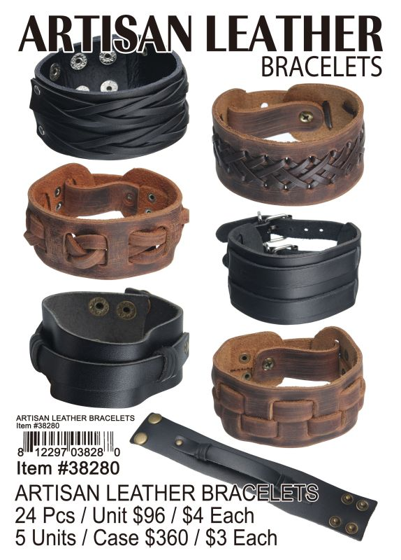 Artisan Leather Bracelets - 24 Pieces Unit