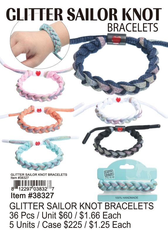 Glitter Sailor Knot Bracelets - 36 Pieces Unit