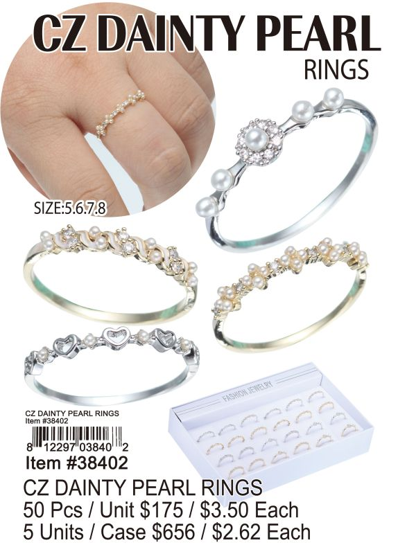 Cz Dainty Pearl Rings - 50 Pieces Unit