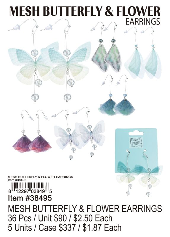 Mesh Butterfly&Flower Earrings - 36 Pieces Unit