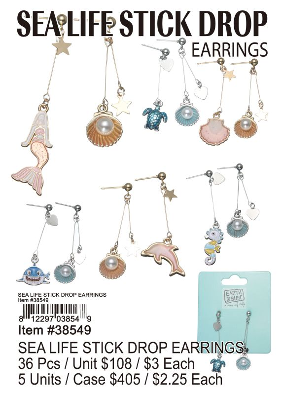 Sea Life Stick Drop Earrings - 36 Pieces Unit