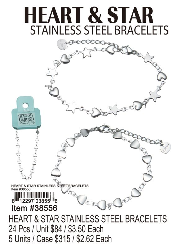 Heart&Star Stainless Steel Bracelets - 24 Pieces Unit