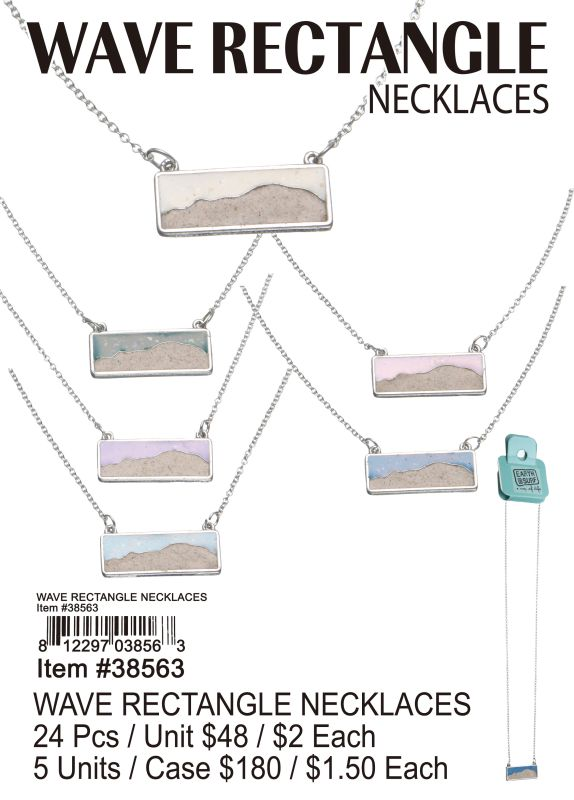 Wave Rectangle Necklace - 24 Pieces Unit