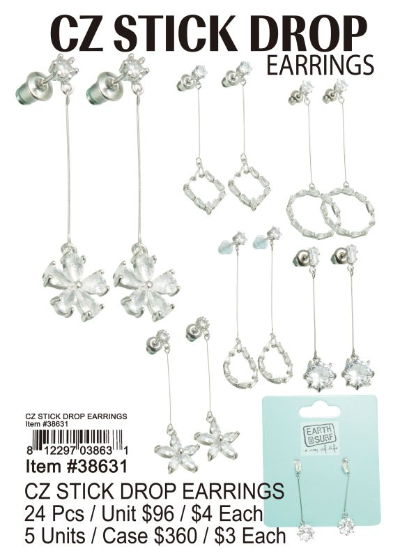 Cz Stick Drop Earrings - 24 Pieces Unit
