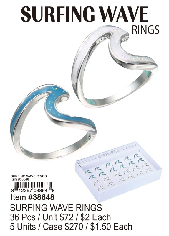 Surfine Wave Rings - 36 Pieces Unit
