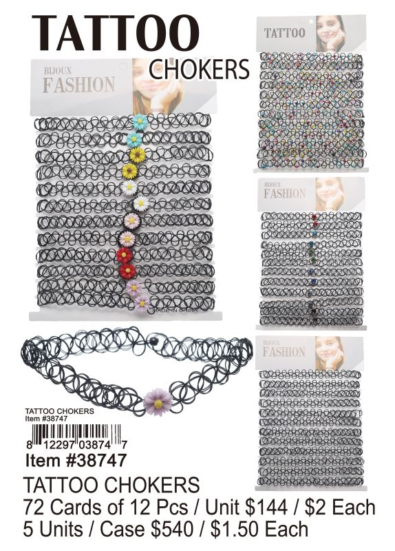 Tattoo Chokers - 72 Pieces Unit