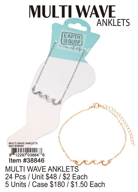 Multi Wave Anklets - 24 Pieces Unit