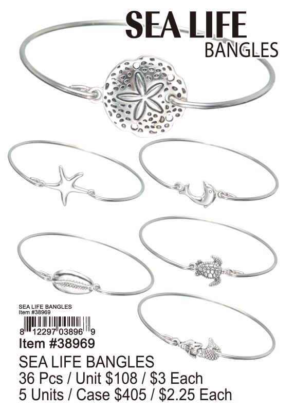 Sea Life Bangles - 36 Pieces Unit