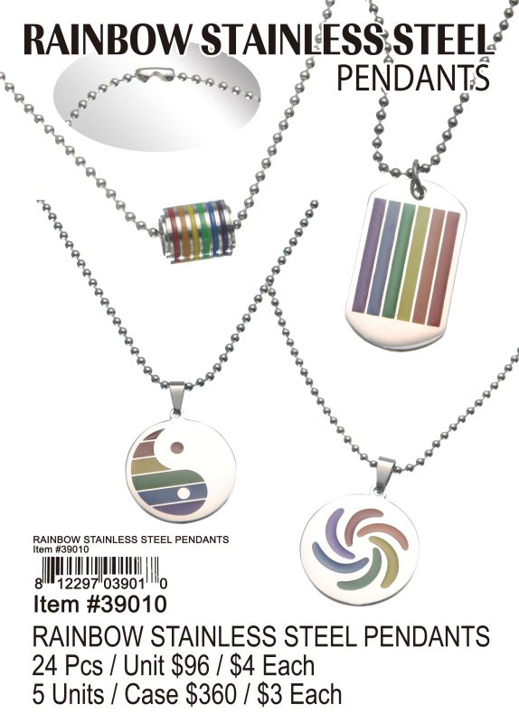 Rainbow Stainless Steel Pendants - 24 Pieces Unit