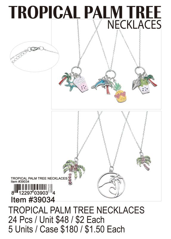 Tropical Palm Tree Necklaces - 24 Pieces Unit