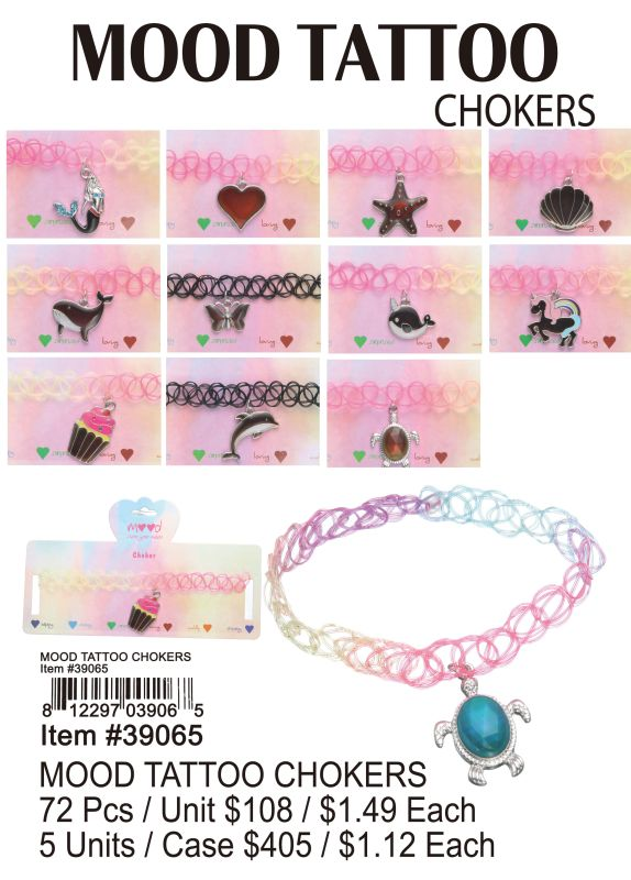 Mood Tattoo Chokers - 72 Pieces Unit