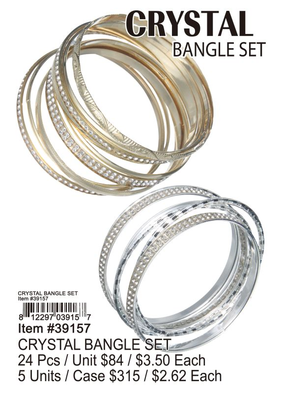 Crystal Bangle Set - 24 Pieces Unit