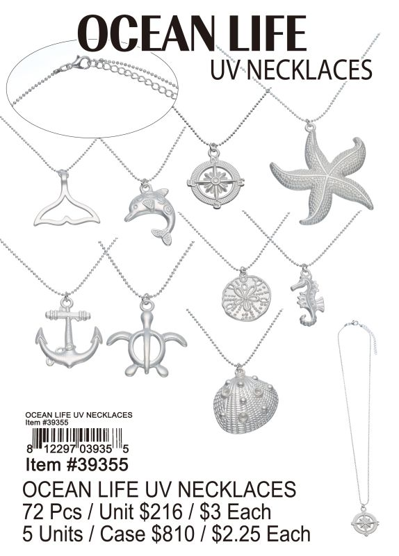 Ocean Life Uv Necklace - 72 Pieces Unit