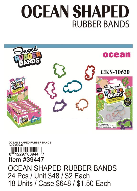 Ocean Shaped Rubber Bands - 24 Pieces Unit