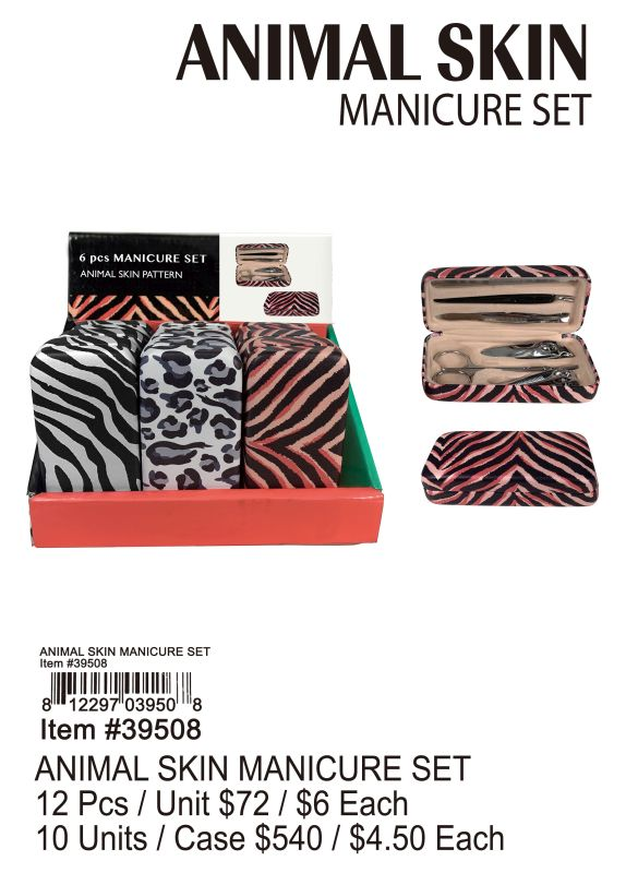 Animal Skin Manicure Set - 12 Pieces Unit