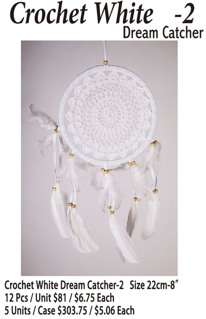 Crochet White-2 Dream Catcher - 12 Pieces Unit