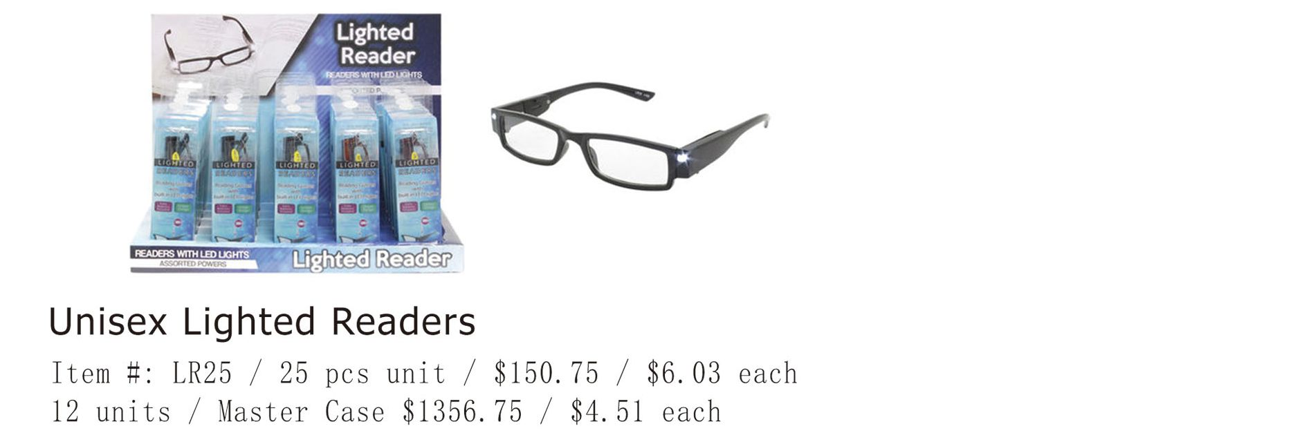 Unisex Lighted Readers - 25 Pieces Unit