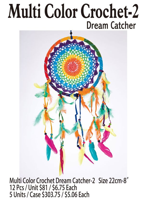 Multi Color Crochet-1 Dream Catcher - 12 Pieces Unit