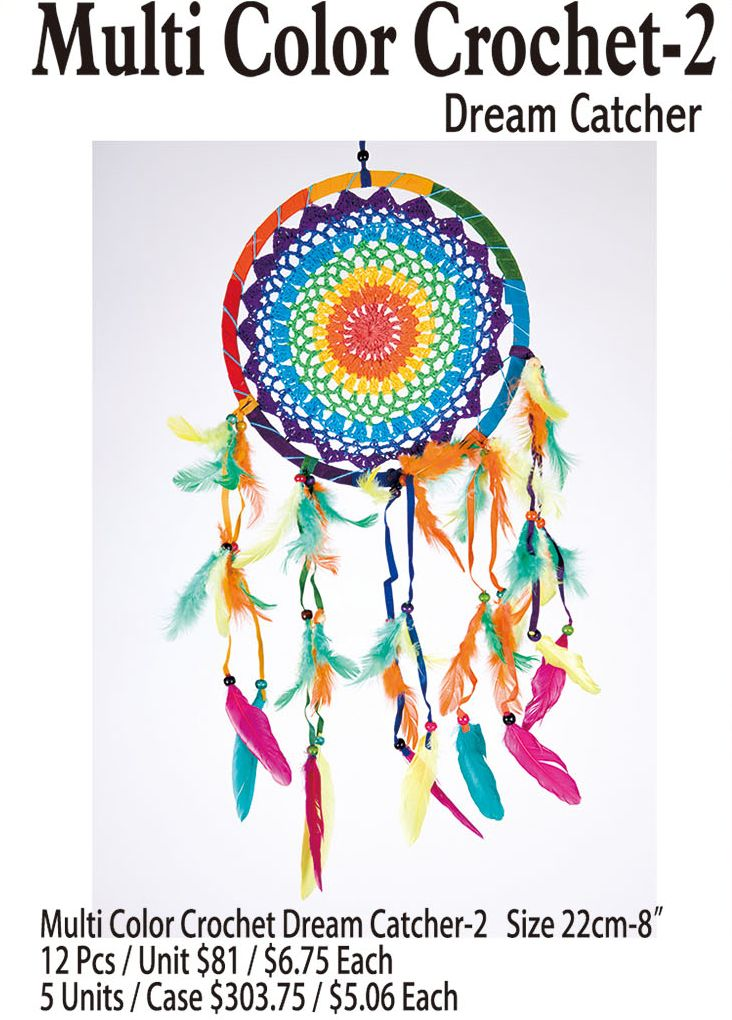 Multi Color Crochet-2 Dream Catcher 8 Inches - 12 Pieces Unit