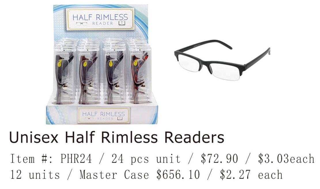 Unisex Half Rimless Readers - 24 Pieces Unit