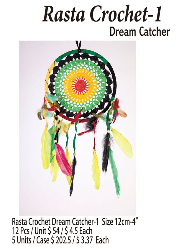 Rasta Crochet-1 Dream Catcher 4 Inches- 12 Pieces Unit