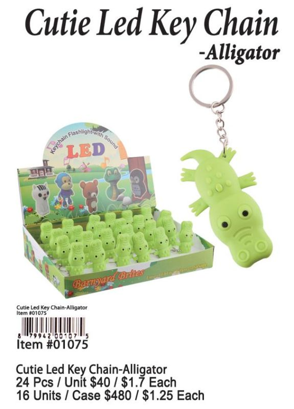 Cutie Led Key Chains-Alligator - 24 Pieces Unit