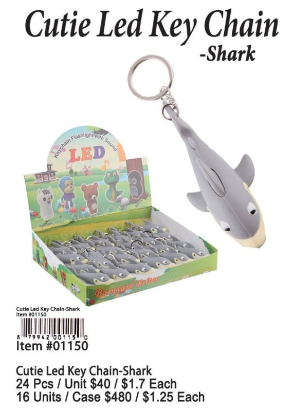 Cutie Led Key Chains-Shark - 24 Pieces Unit