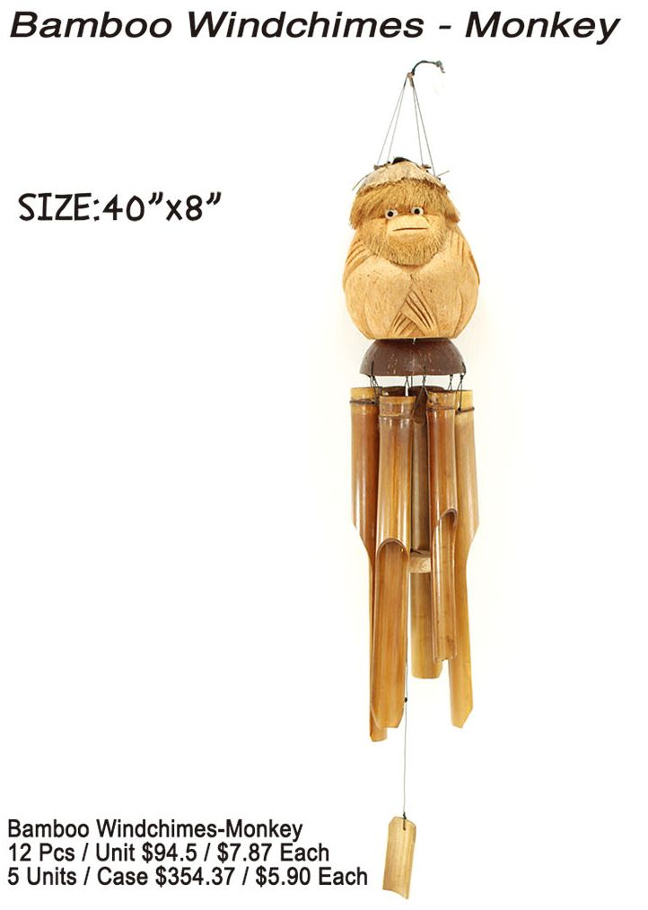 Bamboo Windchimes- Monkey - 12 Pieces Unit