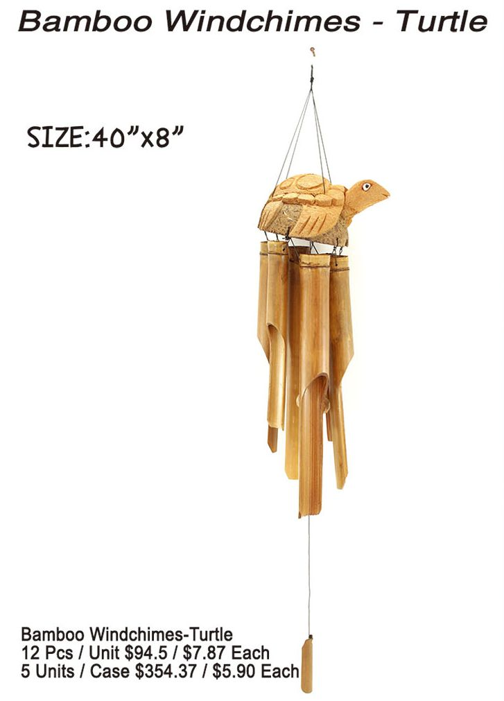 Bamboo Windchimes-Turtle - 12 Pieces Unit